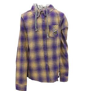 Minnesota Vikings NFL Teens Girls Size Hooded Flannel Long Sleeve Shirt New Tags