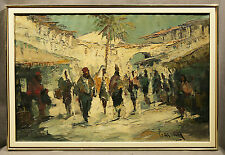 Jewish Oil Painting of Hebrew Village in Israel, signed Cassan