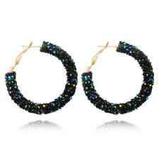 Womens Fashion Crystal Hoop Round Charming Ear Stud Shiny Rhinestone Earring New
