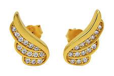 Ohrstecker Flügel 925 Sterling Silber 24K vergoldet 28 Zirkonia Ohrringe Damen