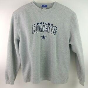Vintage Reebok NFL Dallas Cowboys Gray Pullover Sewn On Sweatshirt Size L C3
