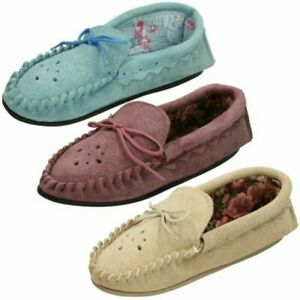 Ladies Moccasin Slip On Slippers Real Suede