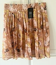 Etcetera NWT Floral 100% Silk Sicily Semi Sheer Skirt 8 Yellow Beige MOVING SALE