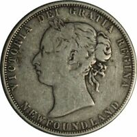 1874 CANADA NEWFOUNDLAND SILVER 50 CENTS - NICE CIRC COLLECTOR COIN!-d1121utsh2
