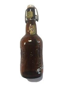 Vintage Grolsch Brown Glass Beer Bottle with Ceramic Wired Flip Top Swing Cap
