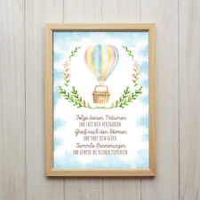 Bild Folge Deinen Träumen Kunstdruck DIN A4 Ballon Spruch Druck Deko