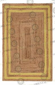 Double Border Yellow Jute Hand Made Rug, Decor Rug Customize in Any Size..