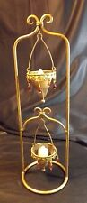 GOLD COLORED METAL STANDING HOLDER  WITH 2 CANDLE SCONCES - BEADS AND METAL TRIM