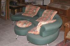 Sofa Garnitur 90er Design rund Wohnlandschaft Couch mit Alu Füssen