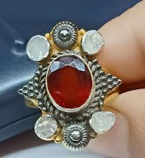 Red Onyx Gems Beautiful Ring, Sterling Silver Pandora Pave Polki Diamond Ring,
