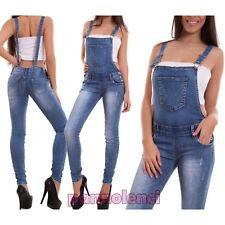 Salopette donna jeans overall tuta intera tutina skinny sexy strappi 6153-MOD