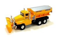 """6"""" Snow Plow Salt Truck Diecast Metal Model Toy With Swivel Pull Action- Yellow"""