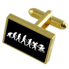 Evolution Ape To Man Wizzard Gold-Tone Cufflinks Black Pouch
