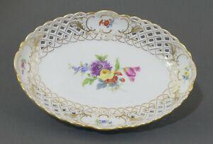 ⚔ Meissen ovale Durchbruchschale  22,6 cm Schale Bowl Blumen Bukett 1.Wahl TOP