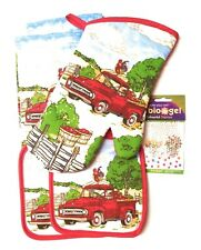5 pc Kitchen Towel Set Bright Red Truck in Apple Field plus Pack of Water Beads