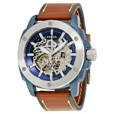 Fossil Men's Automatic Watch Blue Ion Plated Steel Brown Leather ME3135