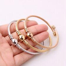 3pcs/set Hot Sell Womens Three Tones Stainless Steel Round Bangle Bracelet
