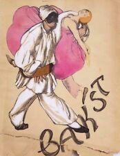1927 Hand Colored Pochoir Print Dust Jacket by Leon Bakst Portfolio