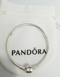 Genuine Pandora Moments Snake Chain Sterling Silver Charm Bracelet S925 ALE 18cm