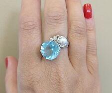 Estate Huge Santa Maria 6.36 ct Aquamarine, Pearl & Diamond 14k gold ring Sz