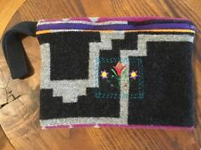 Wool Blanket Wristlet Small Purse Clutch Colorful Native American Style Pattern