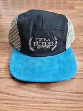Extra Butter 5 Panel Suede stripes cap blue black olive leather strap EB NY Hat