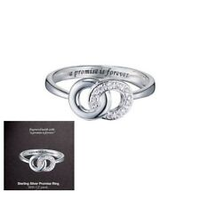 Sterling Silver Ladies Pave Promise CZ Ring Engraved Avon Size 8 Entwined Circle