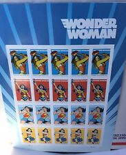2016 Wonder Woman Forever Stamps - Pane of 20 Perfect UnMounted (UM) / MNH