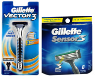 Gillette Vector3 Razor + Gillette Sensor3 Razor Blades, 8 Cartridges