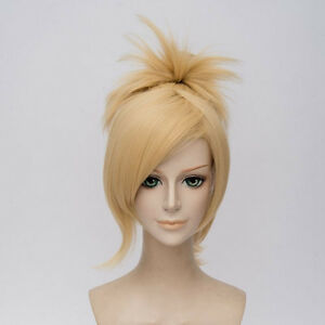 Cosplay Wig Clip Short Ponytail Light Blonde Color Synthetic Hair Full Head