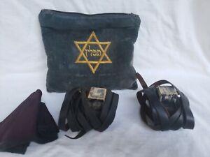 ANTIQUE JEWISH JUDICA LEATHER TEFILLIN & STAR OF DAVID EMBROIDERY BAG & KIPPAH