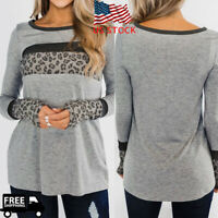 Women Lady Long Sleeve O Neck T-shirt Leopard Splicing Blouse Loose Casual Tops