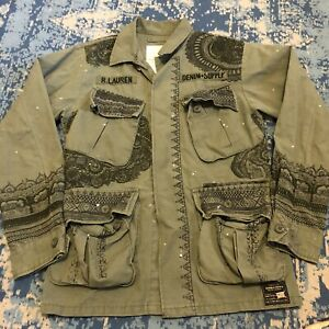 Ralph Lauren Jacket Denim & Supply Polo OG 107 Army Painted Embroidered Small