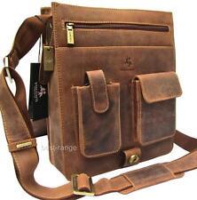 Upright Large Messenger Shoulder Bag Real Leather Tan Visconti New Unisex 18410
