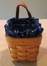 Longaberger 1998 Chive Booking Basket Leather Hanger Liner & Protector Excellent