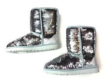 UGG Australia Classic Short Sequin Boots Sz 8 Silver (Shades to Pink) NEW $190