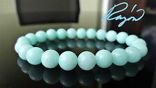 "Genuine Light CYAN Jade Bead Bracelet for Men or Women (Stretch) 8mm - 7.5"" inch"