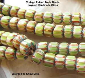 Vintage Chevron African Beads, Layered Glass Striped Beads, Striped Green Blue