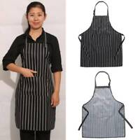 Adult Black Stripes Bib verstellbare Schürze mit Pocket Kitchen Waiter Cook
