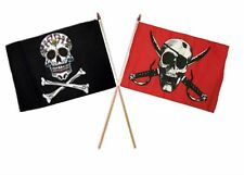 "12x18 12""x18"" Wholesale Combo Pirate Sugar Skull & Crimson Skull Stick Flag"