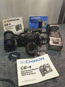 CHINON CE4 35mm SLR FILM CAMERA bundle & lenses
