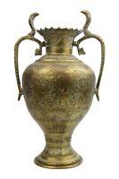 Vintage Indian Brass Vase Twin Cobra Handles Flora & Fauna