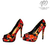 JustFab Women's Shoes High Society Floral Black Peep Toe Size 4 UK