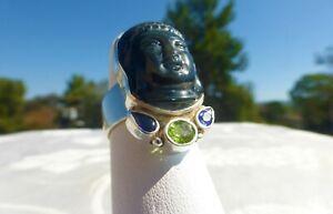 AMAZING Signed SAJEN Sterling Silver 925 Multi Gemstone Goddess RING Size 6.5