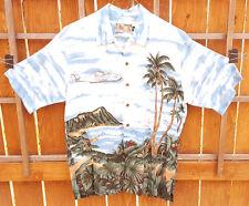 Tori Richard Short Sleeve Shirt-M-Beach Scene-Button Up-Cotton-Hawiian-Airplane.