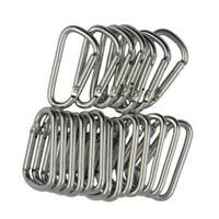 20x Mousquetons en Aluminium Forme D Porte-clés d'Argent Attache à Ressort