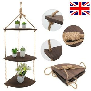 Solid Wood Rustic Hanging Swing Corner Shelve Rope Ladder Floating Shelf Storage