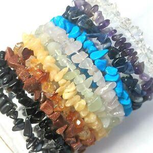 11pcs Gemstone Chip Chakra Bracelets NEW Wholesale Amethyst Rose Quartz etc CB11