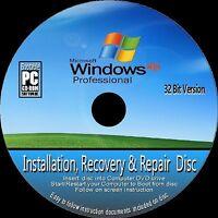 WINDOWS XP PROFESSIONAL 32 Bit & SP3 INSTALL REINSTALL RECOVER REPAIR CD ROM NEW