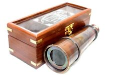 Nautical Shiny Brass Telescope W/Wooden Box Ship Navigational Replica Royal Item